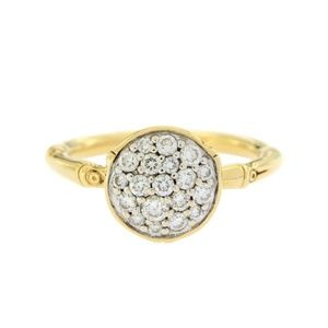 John Hardy Yellow Gold Diamond Bamboo Ring